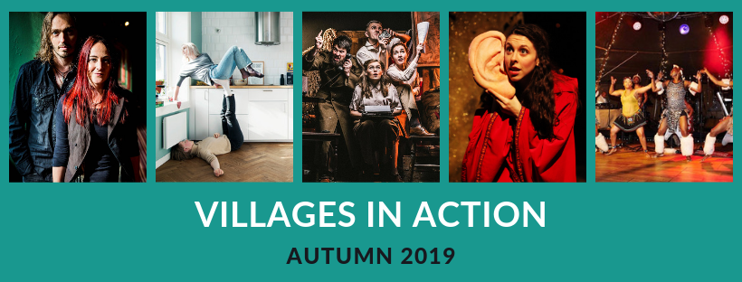Villages in Action Autumn Season header image with pictures of artists